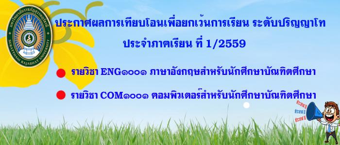 ประกาศผลการเทียบโอนเพื่อยกเว้นการเรียนระดับปริญญาโท ประจำปีภาคเรียนที่ 1/2559